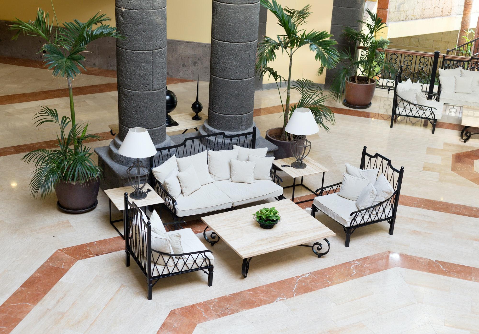 Luxury hotel lobby.